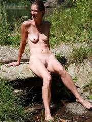 Nude mature in the forest