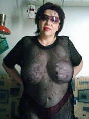 Chubby wife in see through shows her..