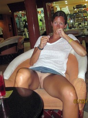 Exhibitionist wife flashing her bare..