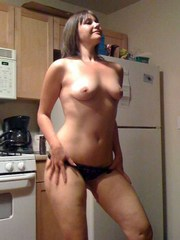 Shaved gf with small breasts strips and..