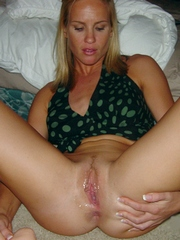 Blonde wife shows herself and plays..