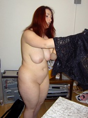 Shaved chubby wife shows her big..
