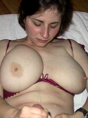 Wife with big natural breasts in..