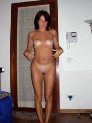 Shaved Italian wife with small firm..