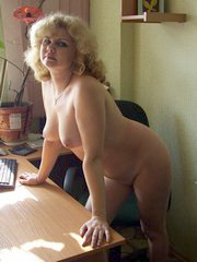 Russian mature secretary plays with her..