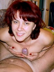 Redhead wife doing her toy and stuffing..