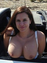 Sexy wife shows her big round breasts